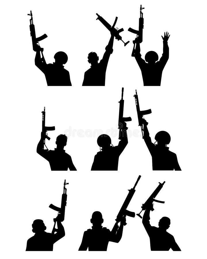 Soldater med vapenkonturer stock illustrationer