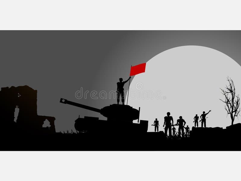 Soldater och behållare och konturpanel för röd flagga royaltyfri illustrationer