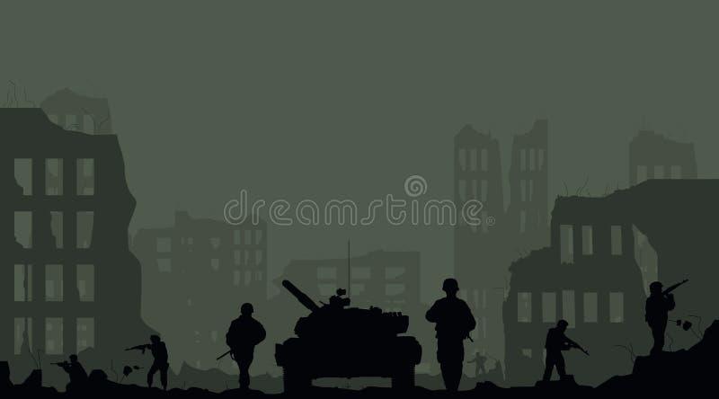 soldaterna och förstörelsen av th stock illustrationer