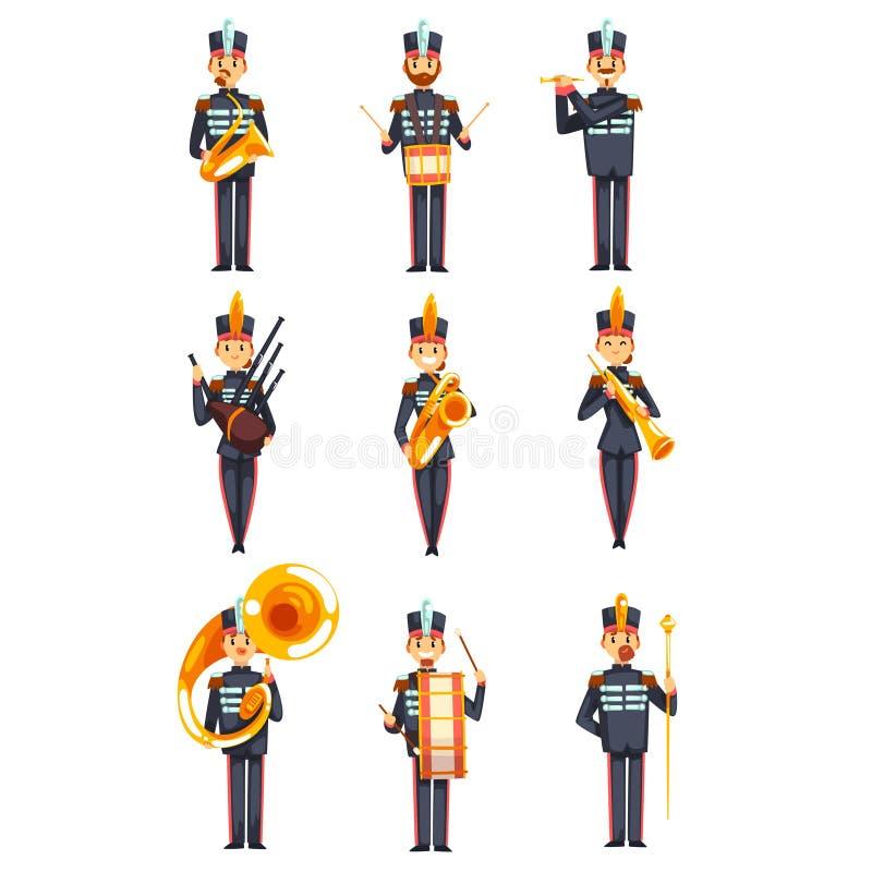 Soldati che giocano gli strumenti musicali insieme, membri della banda militare dell'esercito nell'illustrazione uniforme blu di  illustrazione vettoriale