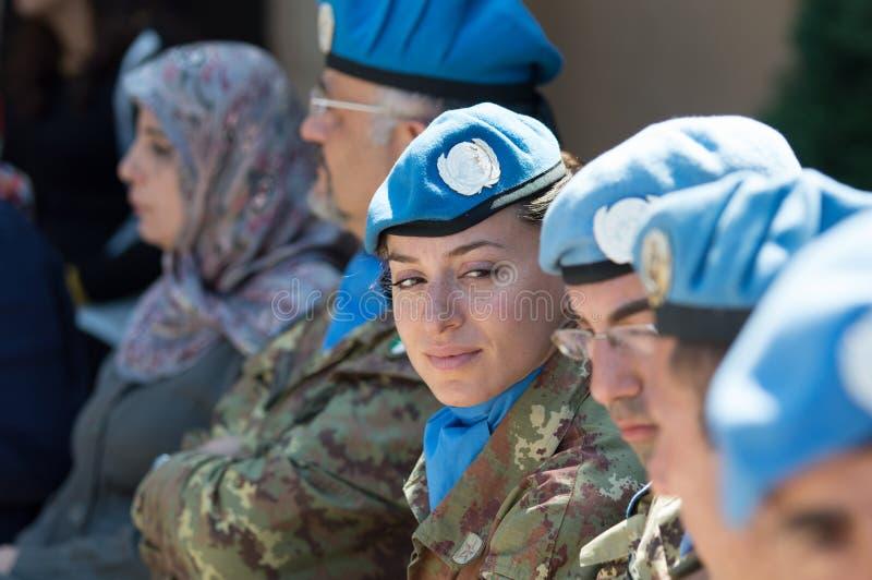Soldati del contingente italiano del UNIFIL immagine stock