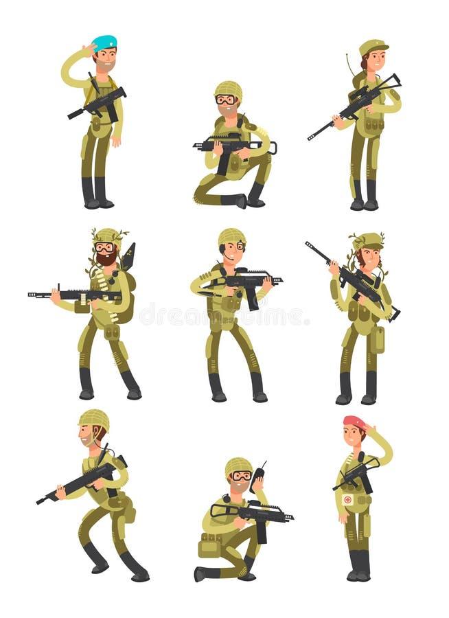 Soldati del fumetto in varie azioni Militari con le armi La gente nell'insieme di vettore dell'esercito illustrazione vettoriale
