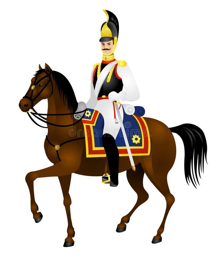 Soldati della cavalleria, Cuirassier, cavallo royalty illustrazione gratis