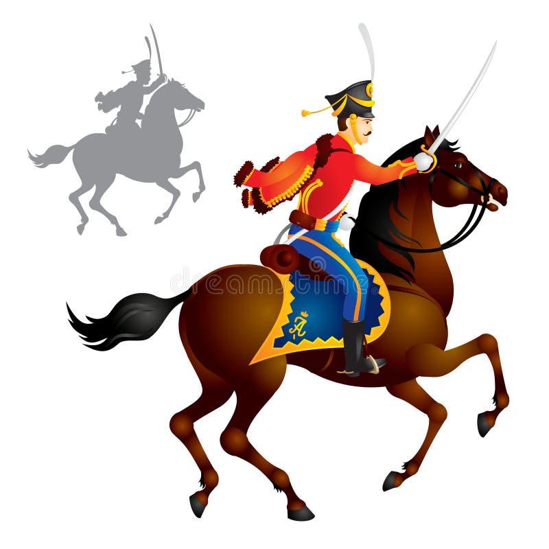 Soldati della cavalleria, Hussar illustrazione vettoriale