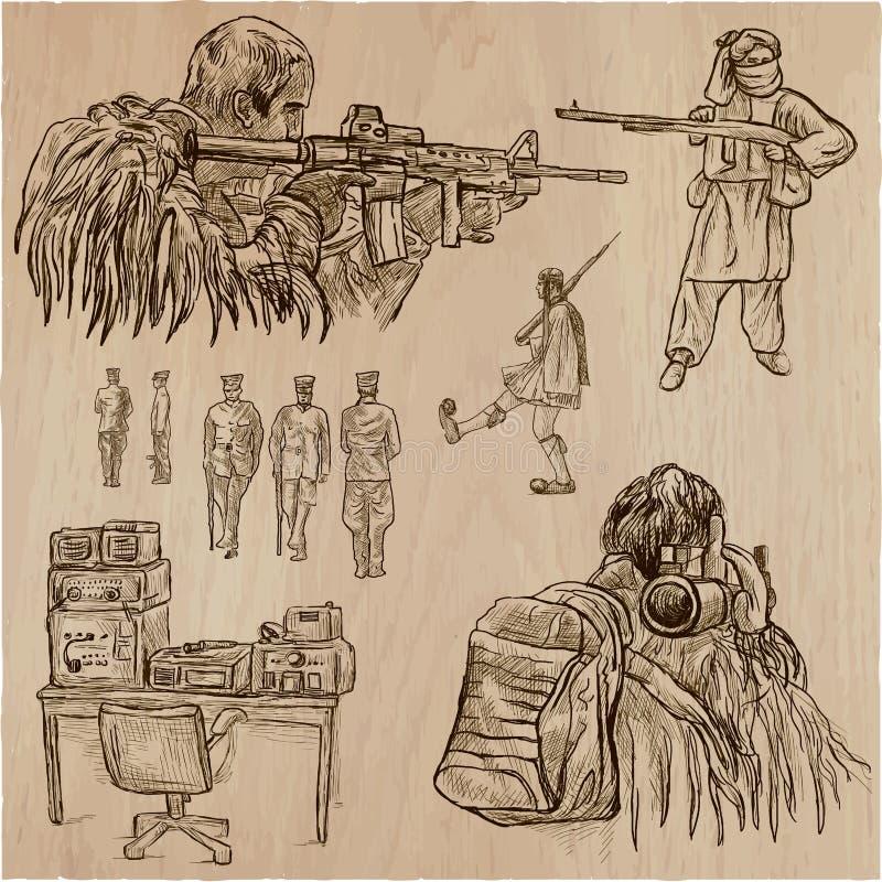 Soldati, esercito - una collezione disegnata a mano di vettore Aroun dei guerrieri illustrazione vettoriale