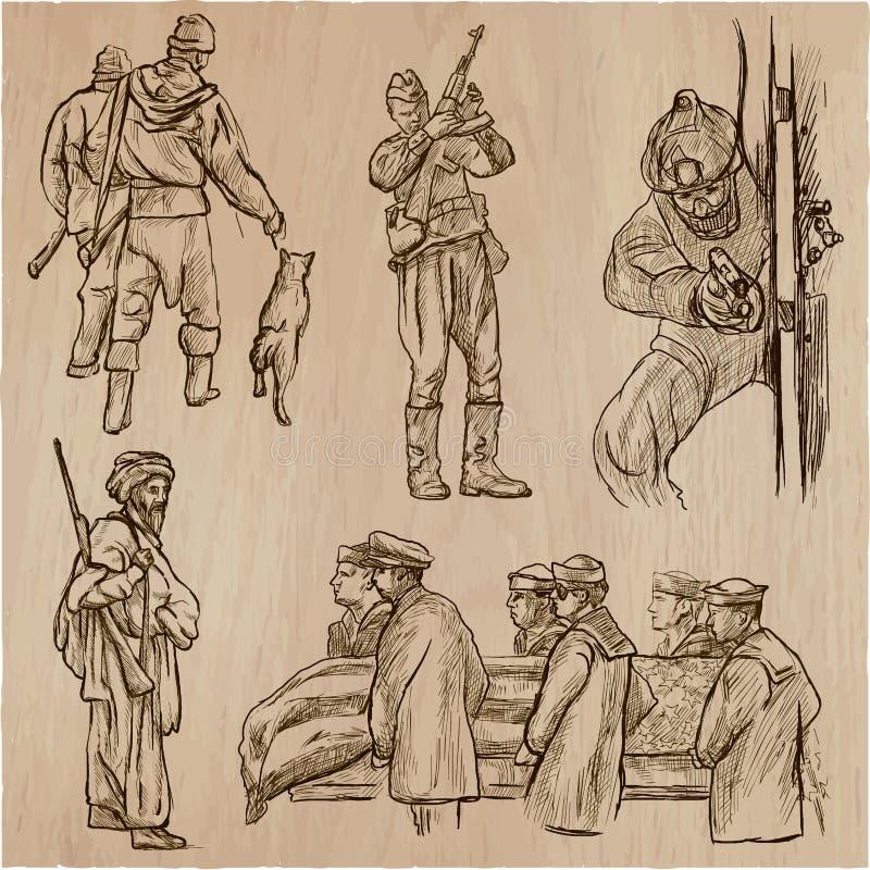 Soldati, esercito - una collezione disegnata a mano di vettore Aroun dei guerrieri illustrazione di stock