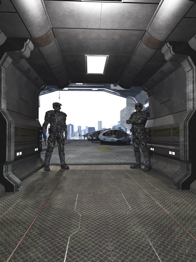 Soldati futuri che custodicono il capannone illustrazione di stock