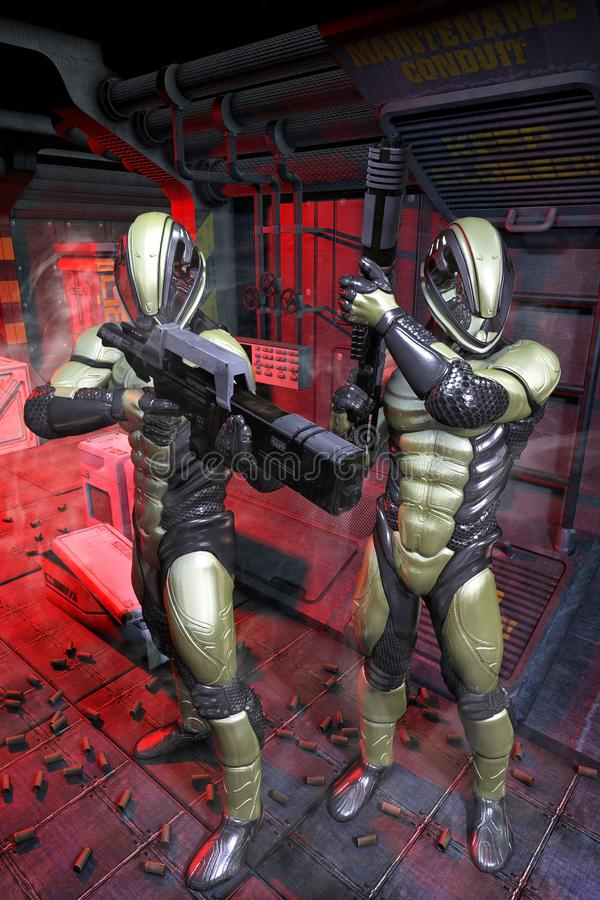 Soldati futuristici dentro un'astronave illustrazione vettoriale