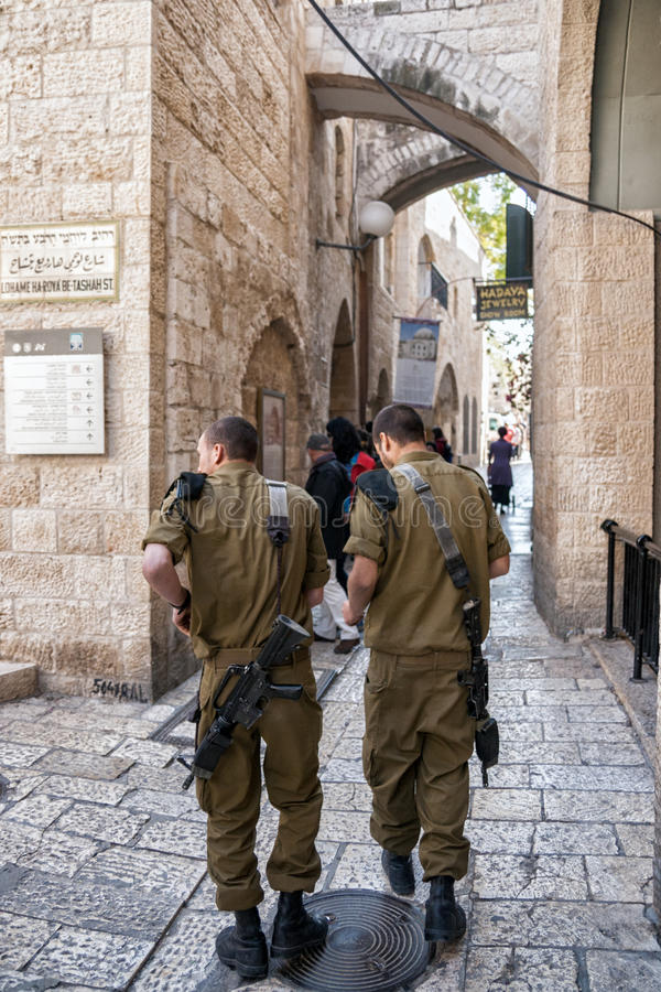 Soldati israeliani Gerusalemme fotografia stock libera da diritti