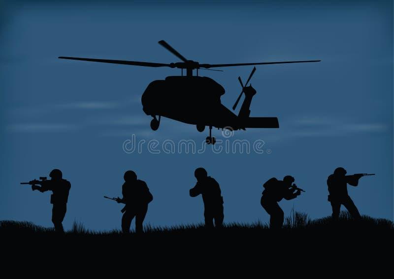 Soldati sulla prestazione della missione di combattimento royalty illustrazione gratis