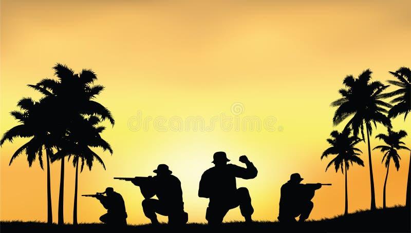 Soldati sulla prestazione della missione di combattimento illustrazione di stock