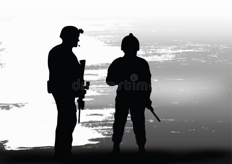 Soldati sulla prestazione della missione di combattimento illustrazione vettoriale