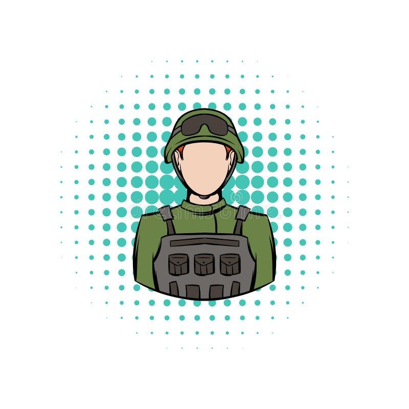 Soldatkomikersymbol vektor illustrationer