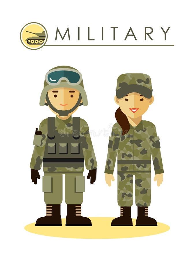 Soldatman och kvinna i militär likformig vektor illustrationer