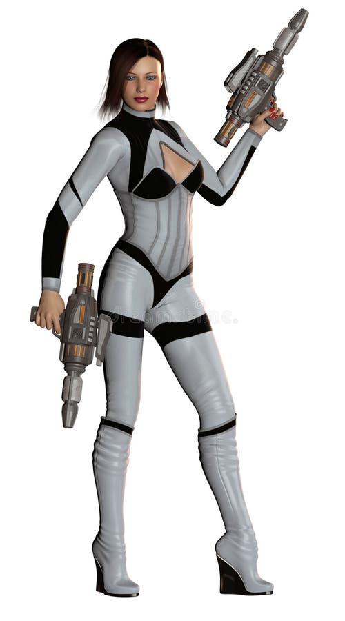 Soldato attraente stesso della donna armato con due vestiti neri e grigi delle pistole, illustrazione 3d royalty illustrazione gratis