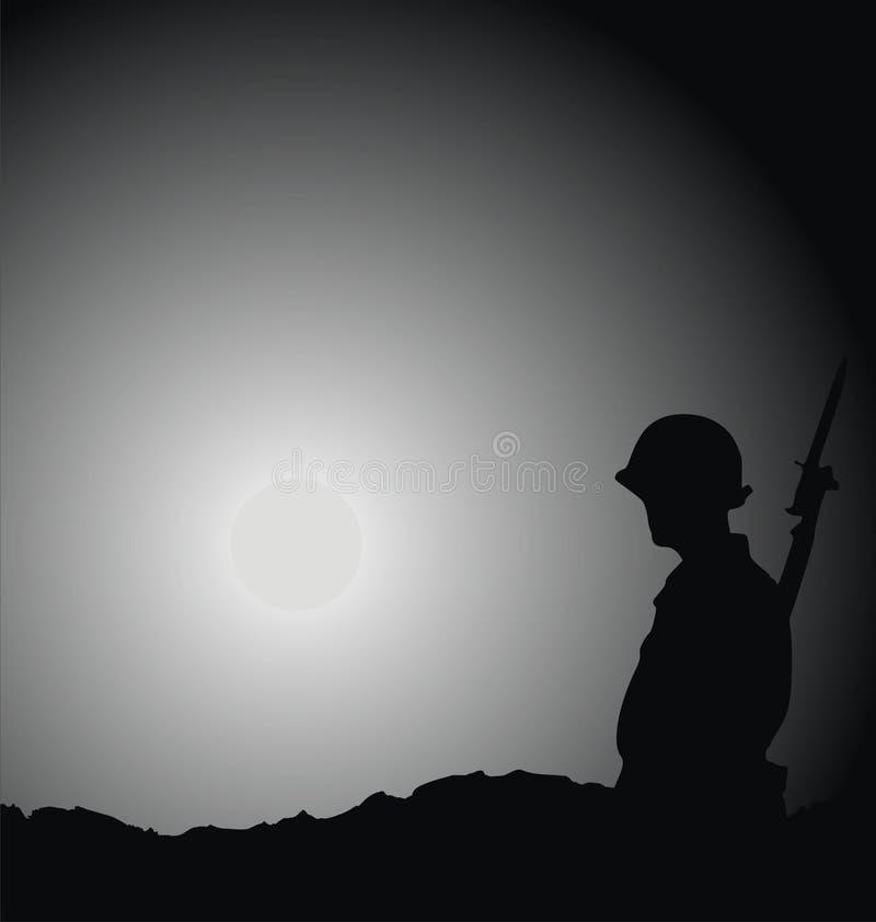 Soldato che è sulla protezione illustrazione vettoriale