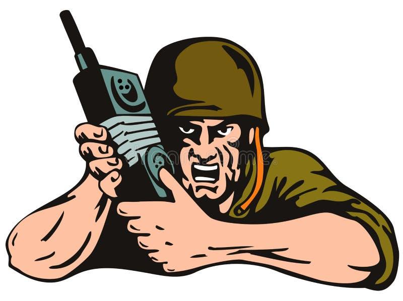 Soldato con la radio isolata sopra royalty illustrazione gratis