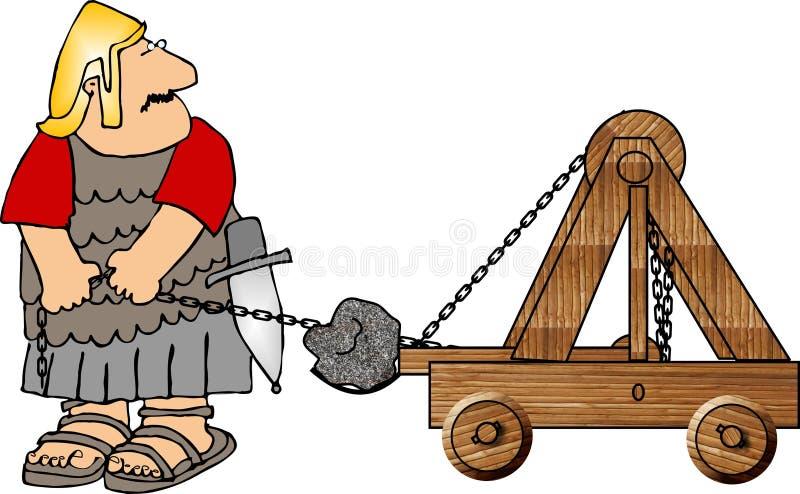 Soldato con una catapulta illustrazione di stock