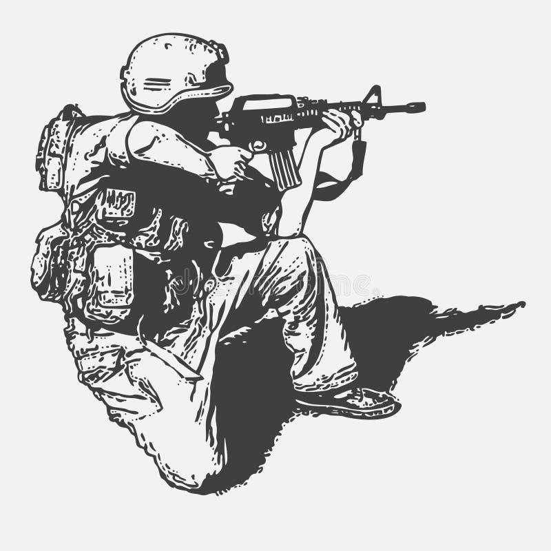 Soldato con una pistola royalty illustrazione gratis