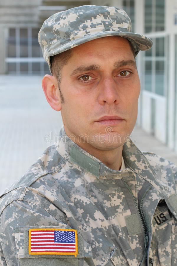 Soldato Deep dell'esercito nel pensiero fotografia stock libera da diritti