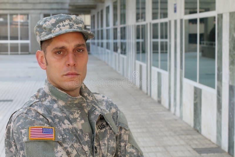 Soldato Deep dell'esercito nel pensiero immagine stock libera da diritti