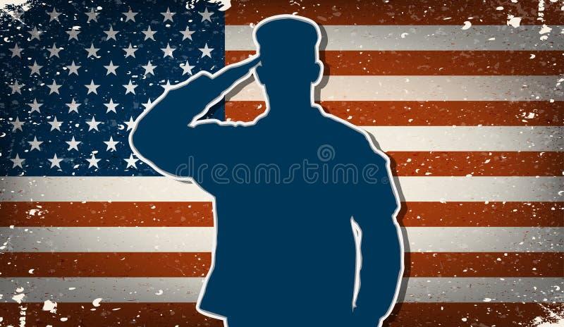 Soldato dell'esercito americano sul vettore del fondo della bandiera americana di lerciume illustrazione vettoriale