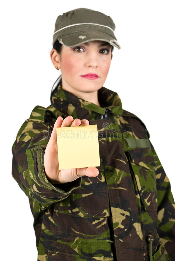Soldato dell'esercito con la nota di post-it immagini stock