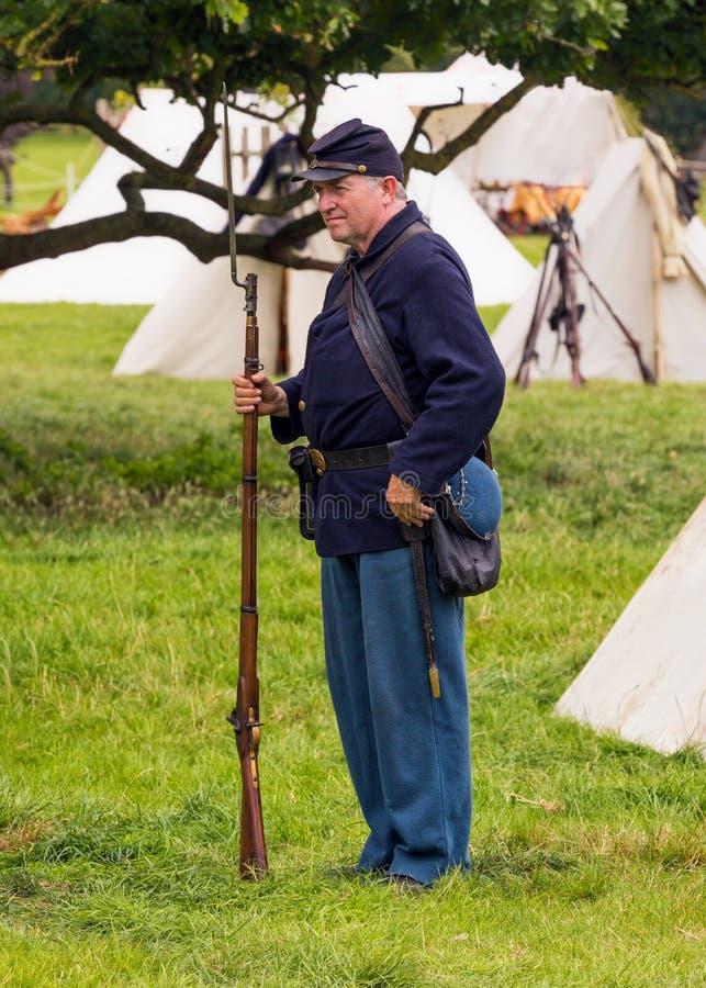 Soldato dell'Esercito dell'Unione della guerra civile americana fotografia stock libera da diritti