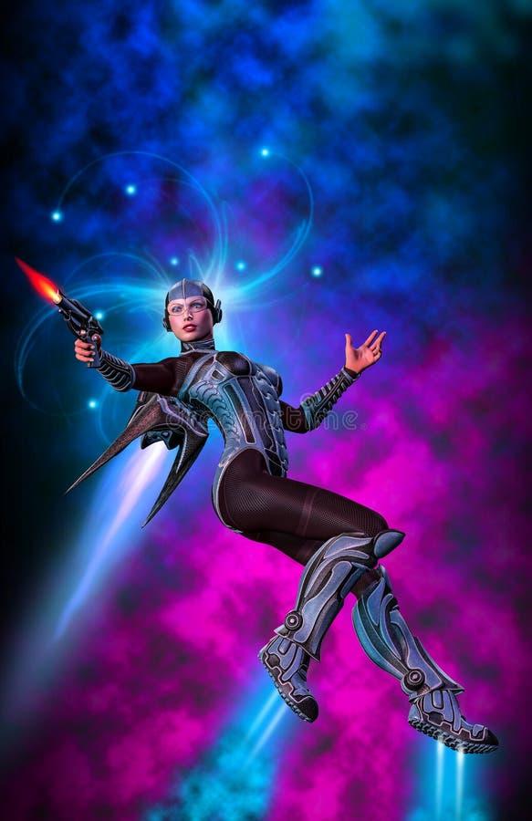 Soldato della donna, muniti futuristici con la pistola, volante con un pacchetto del getto, il fondo con la nebulosa ed il fumo,  royalty illustrazione gratis