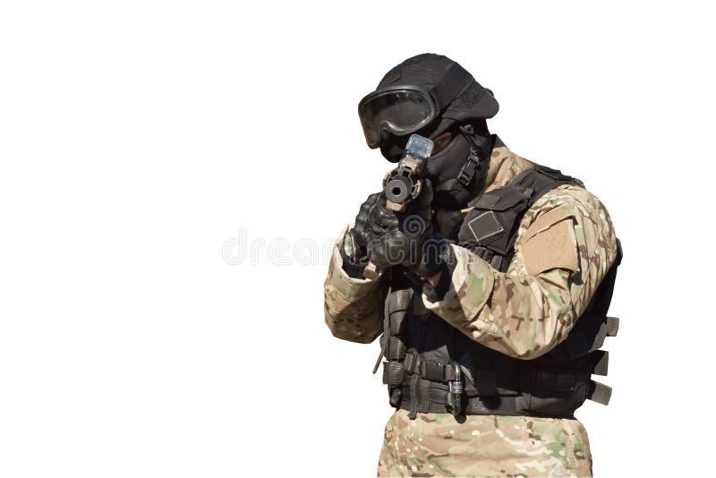 Soldato delle forze speciali, isolato su bianco immagine stock libera da diritti