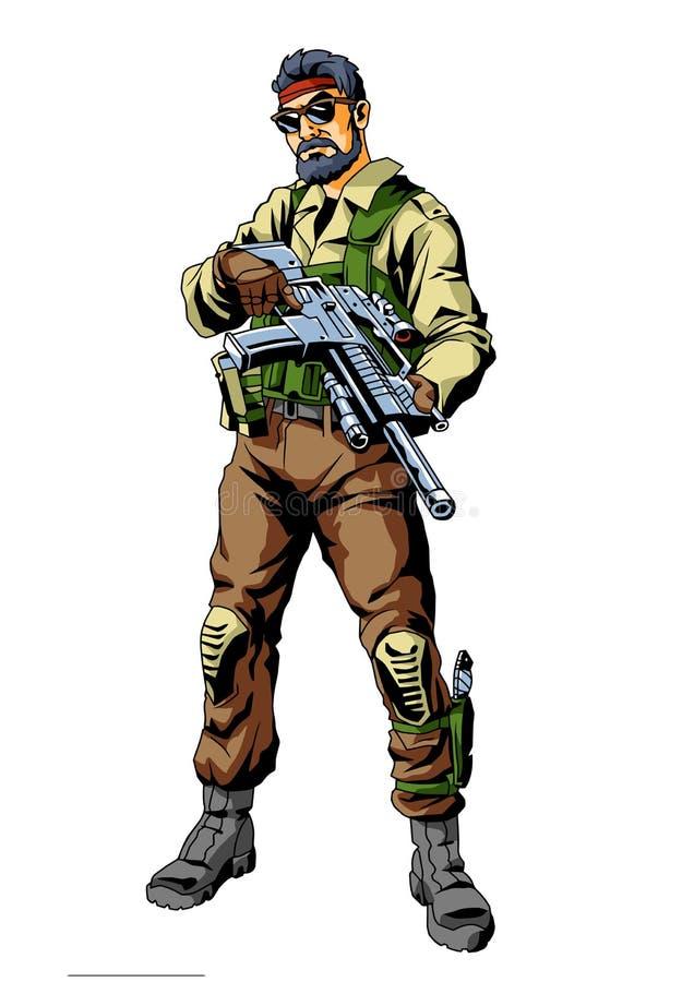 Soldato di cane di guerra illustrazione di stock