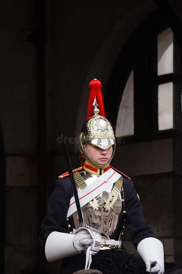 Soldato di cavalleria montato della cavalleria Londra Regno Unito della famiglia fotografia stock