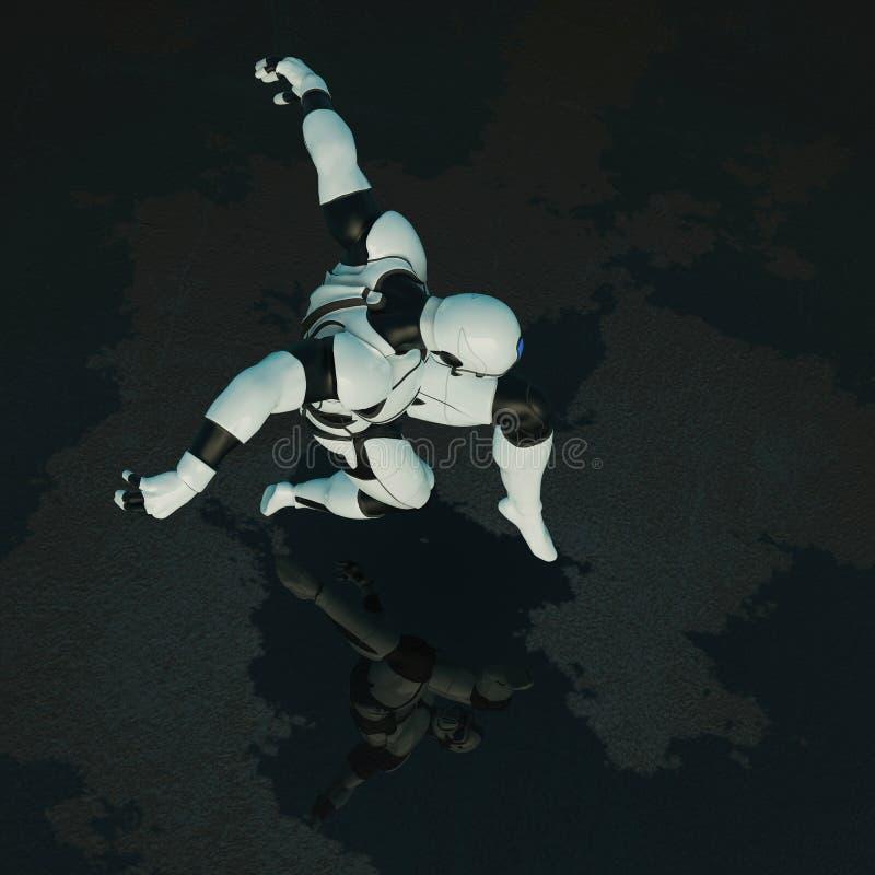 Soldato di cavalleria in un fondo scuro illustrazione vettoriale
