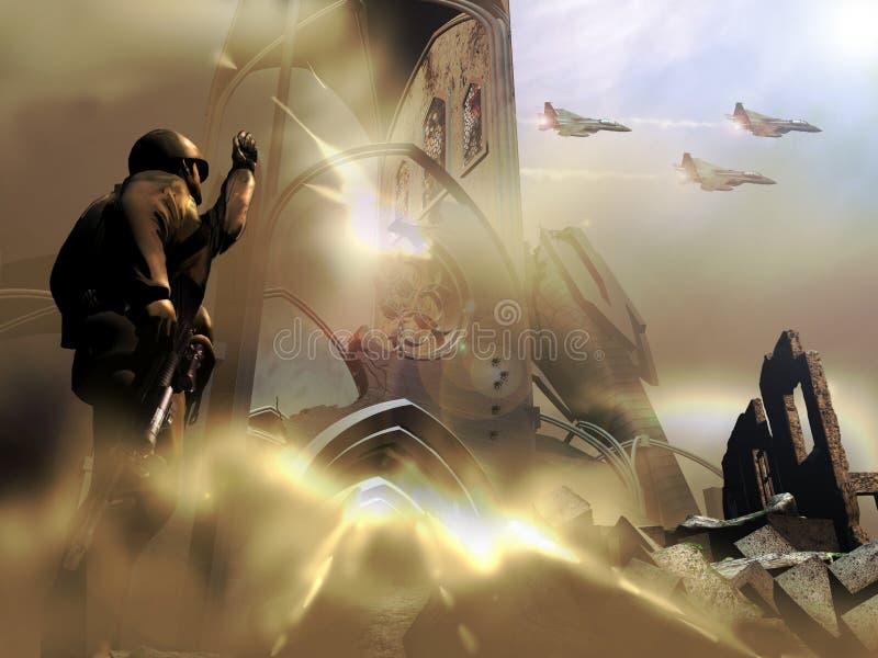 Soldato e combattenti illustrazione di stock