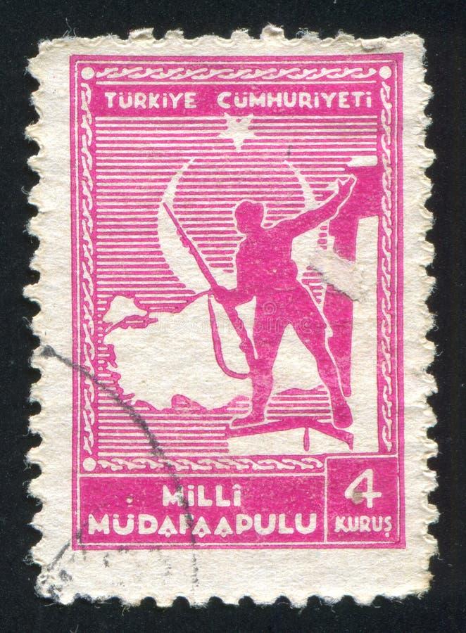 Soldato e mappa della Turchia immagine stock
