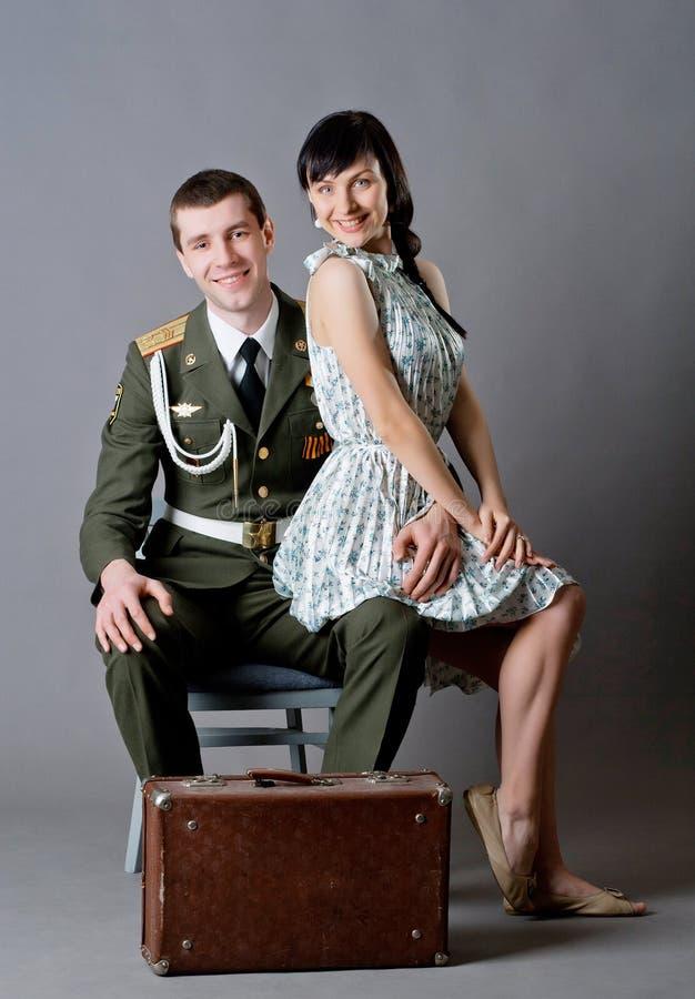 Soldato e ragazza fotografia stock