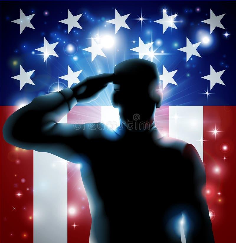 Soldato e stelle e strisce dell'eroe illustrazione di stock