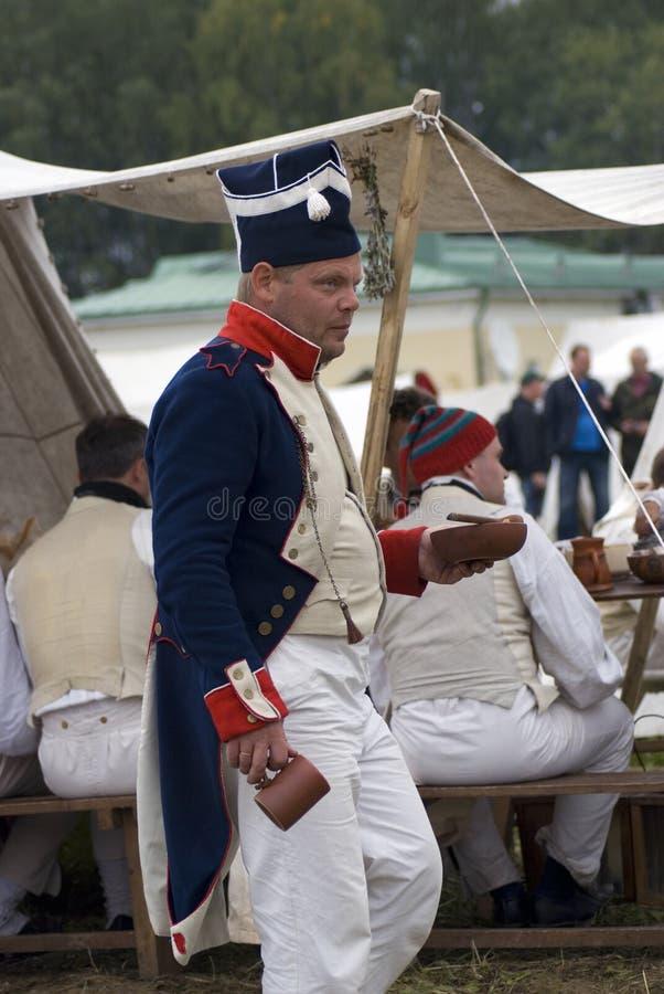 Soldato francese dell'esercito a rievocazione storica di battaglia di Borodino in Russia fotografia stock