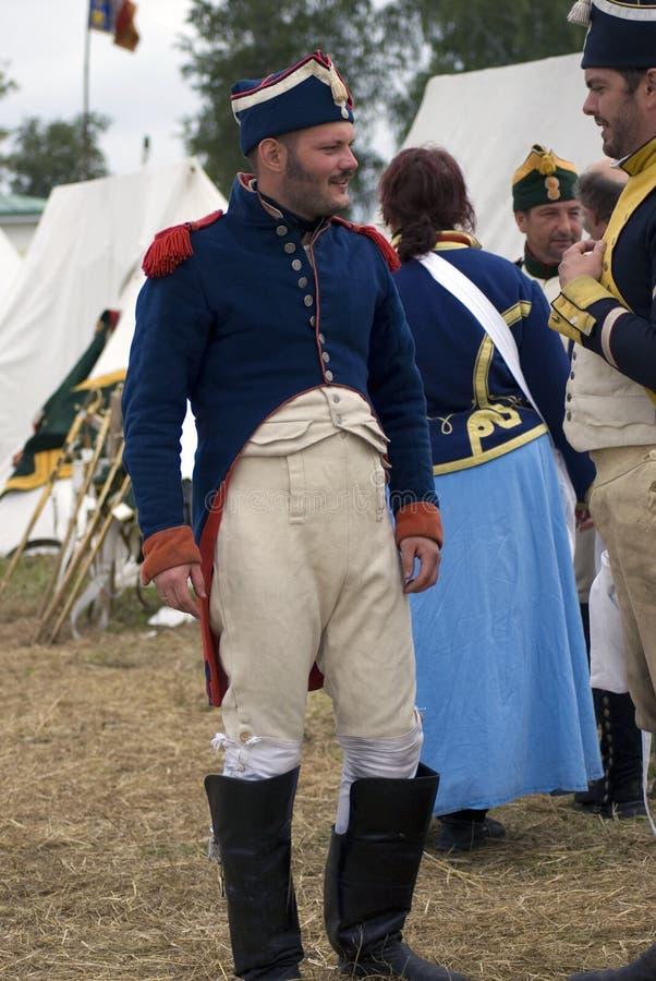 Soldato francese dell'esercito a rievocazione storica di battaglia di Borodino in Russia fotografie stock