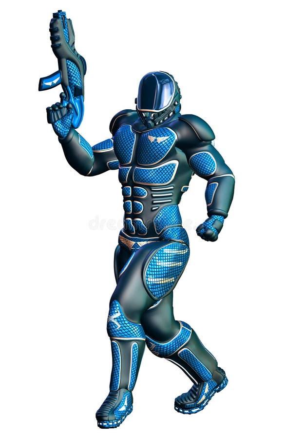 Soldato futuristico con il fucile uniforme e pesante del blu del plasma royalty illustrazione gratis