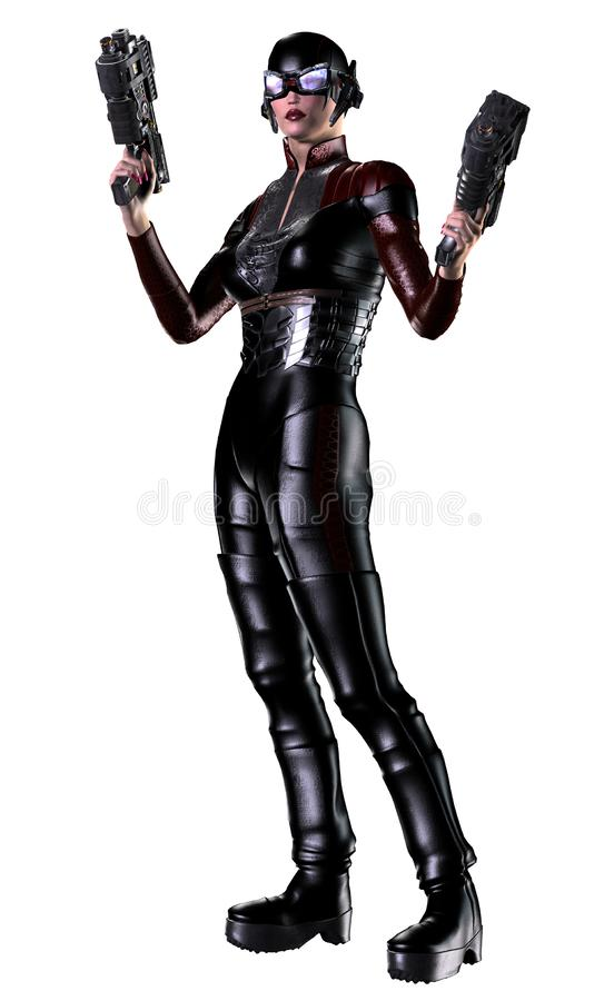 Soldato futuristico della donna, armato con le pistole, illustrazione 3d illustrazione vettoriale