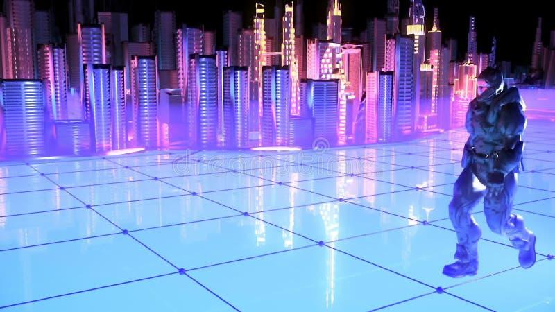 Soldato futuristico su una città futura illustrazione di stock