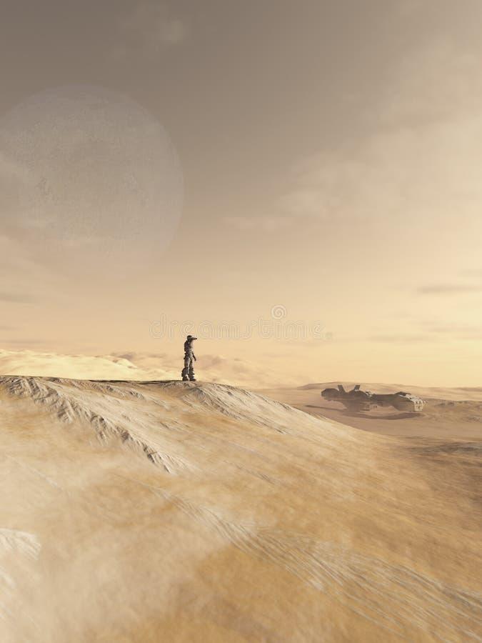 Soldato futuro Scanning un pianeta del deserto illustrazione di stock