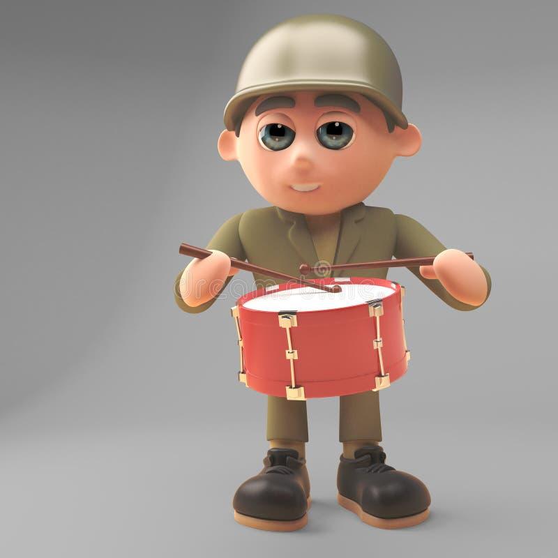Soldato musicale dell'esercito che gioca il tamburo in marcia, illustrazione 3d royalty illustrazione gratis