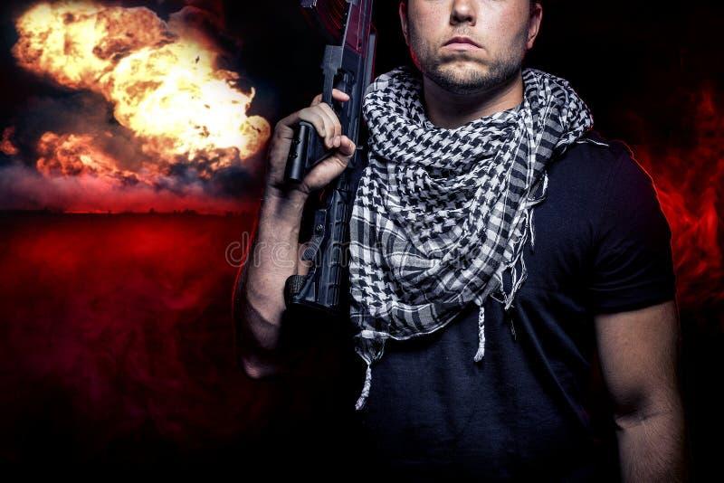 Soldato nella guerra nucleare fotografie stock libere da diritti