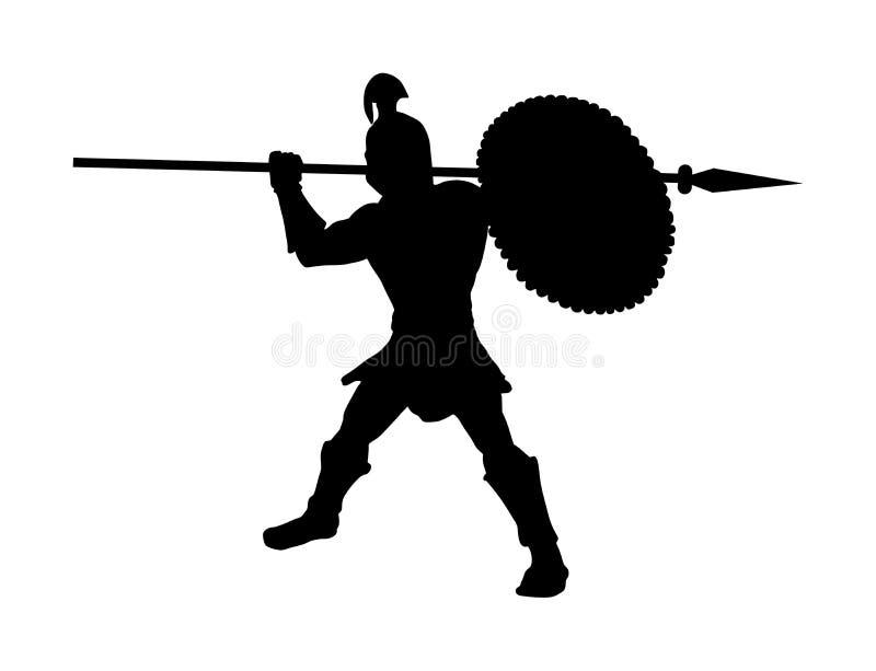 Soldato romano del legionario nella battaglia con la siluetta della lancia e dello schermo Forte guerriero spartano Gladiatore mu illustrazione vettoriale