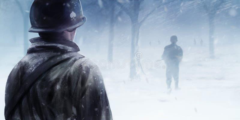 Soldats américains dans la forêt d'hiver illustration de vecteur