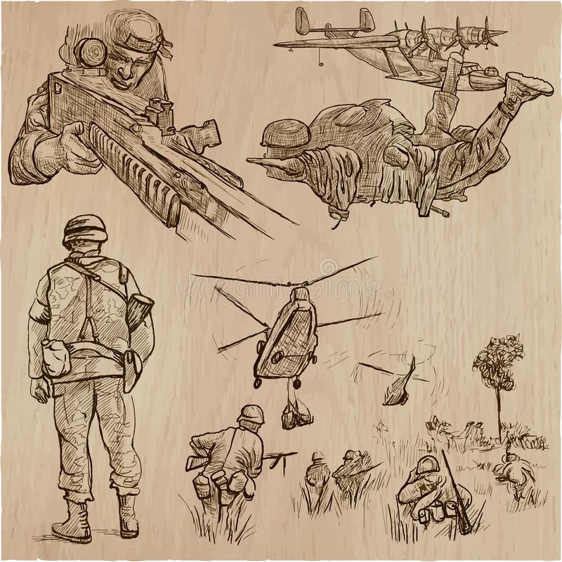 Soldats, armée - une collection tirée par la main de vecteur Aroun de guerriers illustration libre de droits