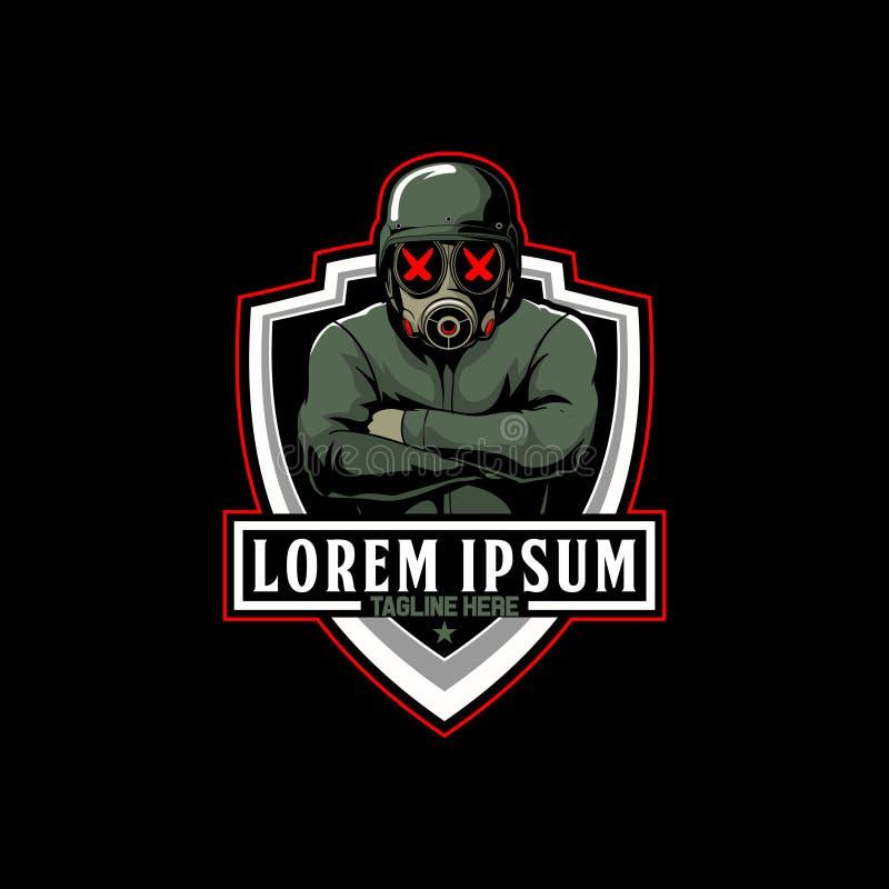 Soldats avec le vecteur de bande dessinée de masque de gaz pour le calibre de logo d'e-sport illustration stock