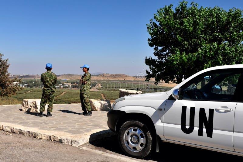 Soldats d'UNDOF dans les Hauteurs du Golan image stock